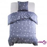 vidaXL Dvodijelni set posteljine s uzorkom trokuta 155 x 200 / 80 x 80 cm sivi
