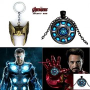 2 Pc AVENGER SET - THOR HELMET / CROWN GOLD COLOUR IMPORTED METAL KEYCHAIN & IRONMAN ARC REACTOR 3D GLASS DOME BLACK METAL PENDANT WITH CHAIN ❤ LATEST ARRIVALS - RINGS, KEYCHAINS, BRACELET & T SHIRT - CAPTAIN AMERICA - AVENGERS - MARVEL - SHIELD - IRONMAN