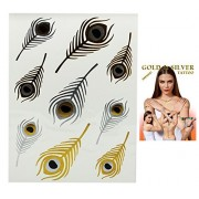 Flash Tattoo Gold and Silver Colored Feather Temporary Tattoos