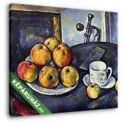Paul Cézanne: Csendélet csészével és almákkal (30x25 cm, Vászonkép )