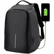 Mochila Anti-Robo Unisex Port USB Cámara Portátil Cargador Travel School Bag - Negro
