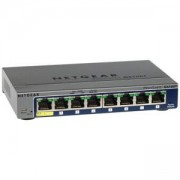 Суич Netgear GS108T v3, 8 x 10/100/1000 Gigabit Smart switch with enhanced QoS, PoE Powered, Link Aggregation, GS108T-300PES
