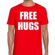 Bellatio Decorations Free hugs tekst t-shirt rood heren