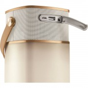 Hansa LED 4 Music tragbare LED-Leuchte mit Lautsprecher, Powerbank, USB-Anschluss gold