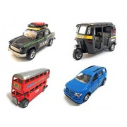 The Game Begins Kid's Combo of 4 Vehicle Toys Ambassador Taxi, Mahindra XUV 500, Auto Rickshaw and Double Decker Bus (Black, Blue, Black and Red)