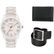 Crude Smart Combo Analog Watch-rg230 With Black Leather Belt Wallet