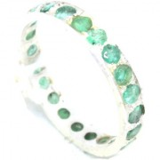 Handmade 925 Sterling Silver Women's Band Ring Natural Green Emerald Gem Stones