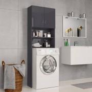 vidaXL Armário máq. de lavar 64x25,5x190cm aglomerado cinza brilhante