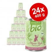 24x400g zooplus Bio konzerv nedves macskatáp- Bio csirke & sárgarépa