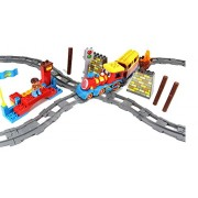 Intellect Blocks Big Train Set with Tracks, Figures, Music and Lights - Make 4 different kinds of Tracks