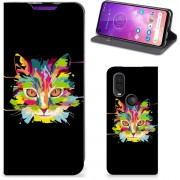Motorola One Vision Magnet Case Cat Color