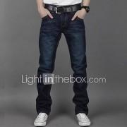 mannen straight donkerblauwe jeans