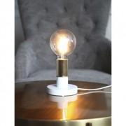 Star Trading DUO lampfot i trä, E27, vit med mässingfärgad lamphållare 7391482014559 Replace: N/A