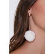Forever21 Pom Pom Drop-Chain Earrings GOLDWHITE