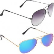 Criba Aviator Sunglasses(Grey, Blue)