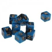 Alcoa Prime Pack of 10pcs Dual Colored Six Sided D6 Dice for D&D RPG Games Blue & Black