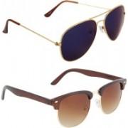Zyaden Aviator, Oval Sunglasses(Blue, Brown)