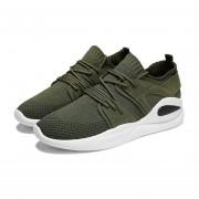 Moda hombres Flyknit Malla superior transpirable zapatos deportivos al aire libre girando Green