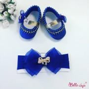 bellejuju Sapatinho de bebe customizado azul com fita de bebe de laço em organza