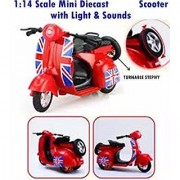 Die Cast Metal Play Set - Perfect Toy Set for Kids (London Antique Scooter with Sidecar - Light Sounds) (Scooter B)