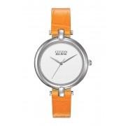 Citizen Watches Womens Eco-Drive Silhouette Quartz Orange Leather Strap Watch 34mm NO COLOR