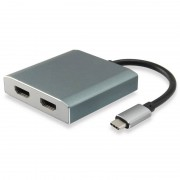 Equip Adaptador USB-C para 2x HDMI Fêmea 4K 30Hz Cinzento