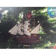 Wooden Mayflower Model Ship Christmas Tree Ornament - Nautical Decoration - Tre