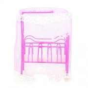 Awakingdemi Pink Babybedroom Furniture, Baby Bed for Small Kelly Dolls for Barbie Doll Cute Bed Barbie Doll Accessories