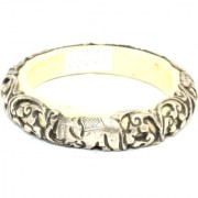 Alloyed Silver Bangles Handcrafted Elephant Om Antique Tibetan Resin Inside - 04
