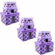 PrettyKrafts Storage Combo Pack of 9 Purple/Organizer/Storage Box/Toys Storage Box/Books Storage Box
