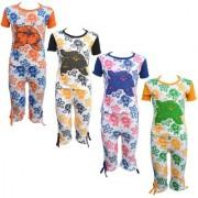 Eazy Trendz Baby Girls Mindblowing Floral Printed Half Sleeve Top Bottom Tshirt and Capri Super Set of 4