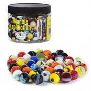 """Set Of 50 Beautiful 5/8"""" Player Marbles Bulk For Marble Games & More: Multiple Colors, Excellent Quality, Portable Marble Container, Glass Game Marbles For Unlimited Hours Of Fun"""