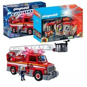 Playmobil City Action Playset Bundle with Take Along Fire Station Playset and Rescue Ladder Unit