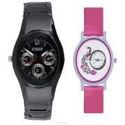 Rosra Black Men and Round Dial Peacock Pink Women Watches Couple For Men and Women