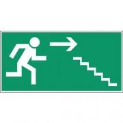 Noodevacuatiebord - ''''Vluchtweg via trap rechtsbeneden'''' - Zelfklevend