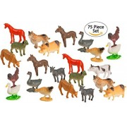 Big Mo 27s Toys 75 Piece Party Pack Mini Farm Animals - Plastic Mini Animal Toys - Fun Gift Party Giveaway