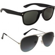 Marabous Wayfarer, Aviator Sunglasses(Green, Black, Grey)