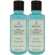 Khadi Pure Green Tea Mint Body Wash SLS-Paraben Free - 210ml (Set of 2)
