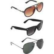 Zyaden Rectangular, Wayfarer, Aviator Sunglasses(Brown, Black, Black)