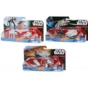 Hot Wheels Star Wars 2-Pack Space Ship Sets Tie Fighter & Millennium + Transporter & X-Wing Fighter Falcon + AT-AT vs. REBEL SNOWSPEEDER 6 vehicle set
