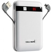 Callmate Power Bank Black Border in-Built Charging Cable 13000 mah - White - 6 Months Warranty
