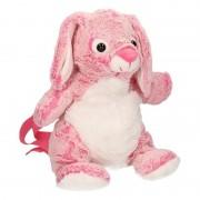 Merkloos Pluche roze konijn/haas rugzak 20 x 36 cm