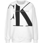 Calvin Klein Large CK Oversized Crew Neck Damen Sweater weiß Gr. XS