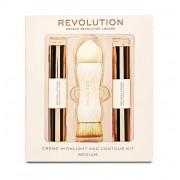 Kit Pentru Contur Si Iluminare Makeup Revolution Creme Highlight And Contour Medium