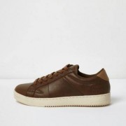 River Island Mens Tan lace-up trainers