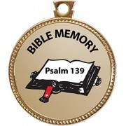 Psalm 139 Bible Memory Award, 1 inch dia Gold Medal 'Bible Memory Achievements Collection' by Keepsake Awards