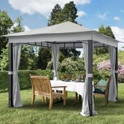 Intent24.fr Tonnelle de jardin 3x3m Polyester pelliculé polyuréthane 280 g/m² gris imperméable