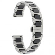 for Samsung Galaxy Watch 46mm Watchband, TRUMiRR 22mm Ceramic Stainless Steel Watch Band Quick Release Strap Replacement Bracelet Wristband for Gear S3 Classic/Frontier, Gear 2 Neo Live, Black Silver