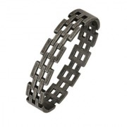 The Jewelbox Italian Black Plated316L Surgical Stainless Steel Openable Free Size Kada Bracelet Boys Men