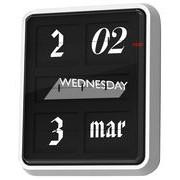 Established & Sons Horloge murale Font Clock / Calendrier - Established & Sons blanc,noir en verre